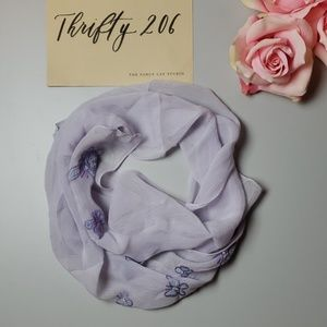 Accessories - Purple Butterflies w/Pearl Details Sheer Scarf